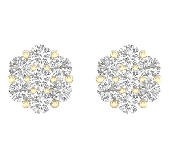 10k yellow Gold Flower Stud Earrings 0.74ct diamonds. 100% natural diamonds,Diamond Color/Clarity: I-J Si si1-vs2