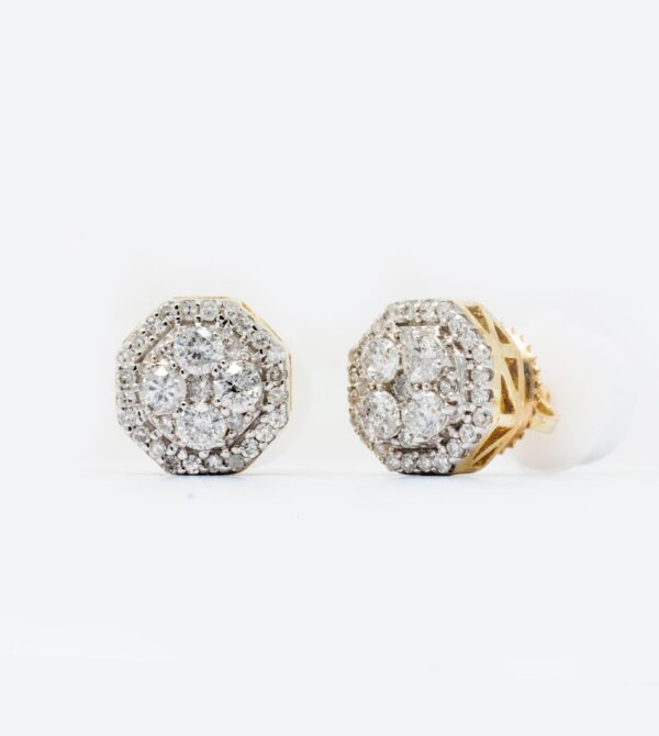 10K Yellow Gold Diamond Octagon Stud Earrings