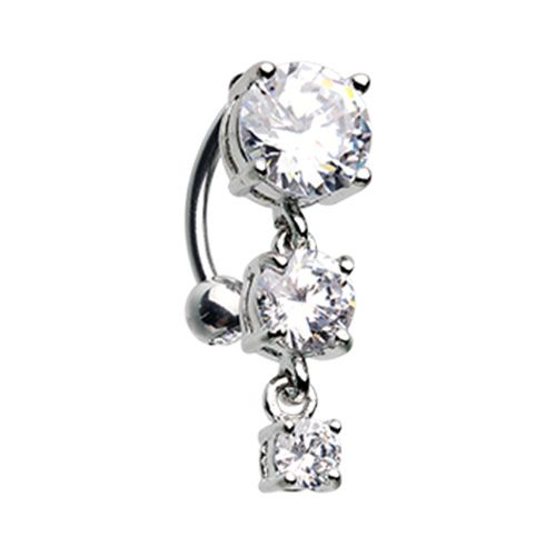 Brilliant Cascading Reverse Drop Top Belly Ring