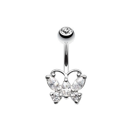 Delightful Cubic Zirconia Butterfly Belly Button Ring