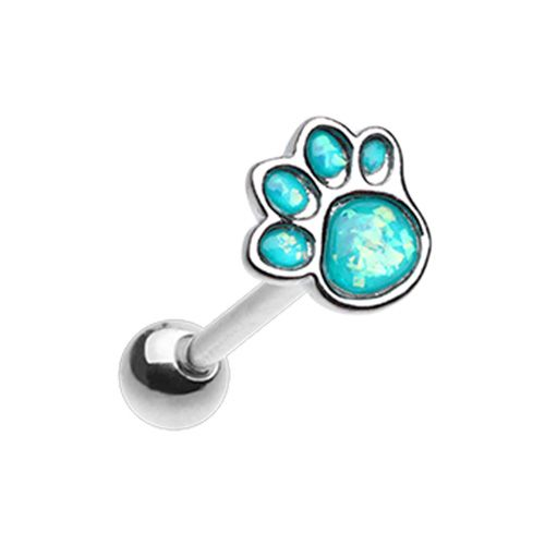 Animal Lover Paw Print Barbell Tongue Ring
