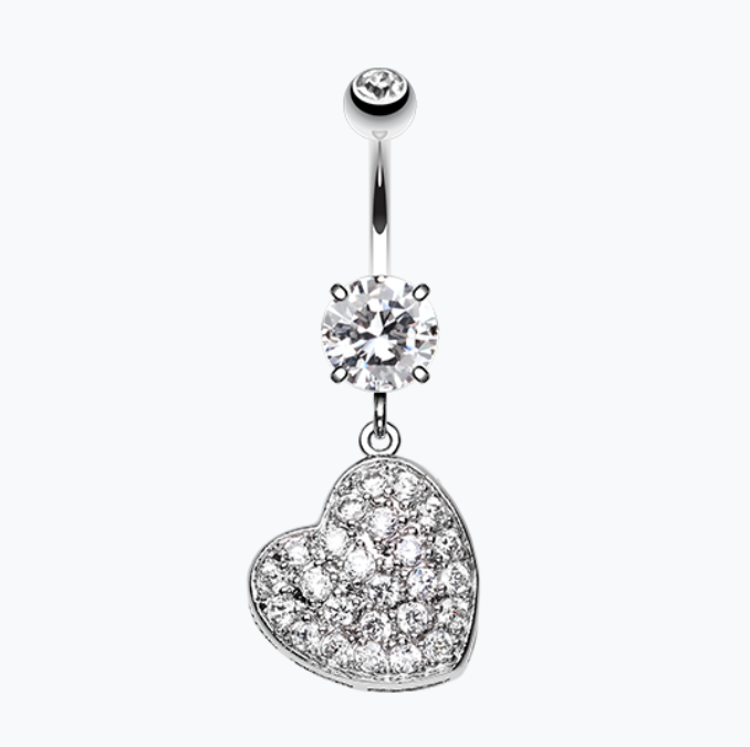 Pave Heart Sparkle Cubic Zirconia Belly Button Ring