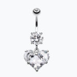 Dainty Crystalline Heart Cubic Zirconia Belly Ring