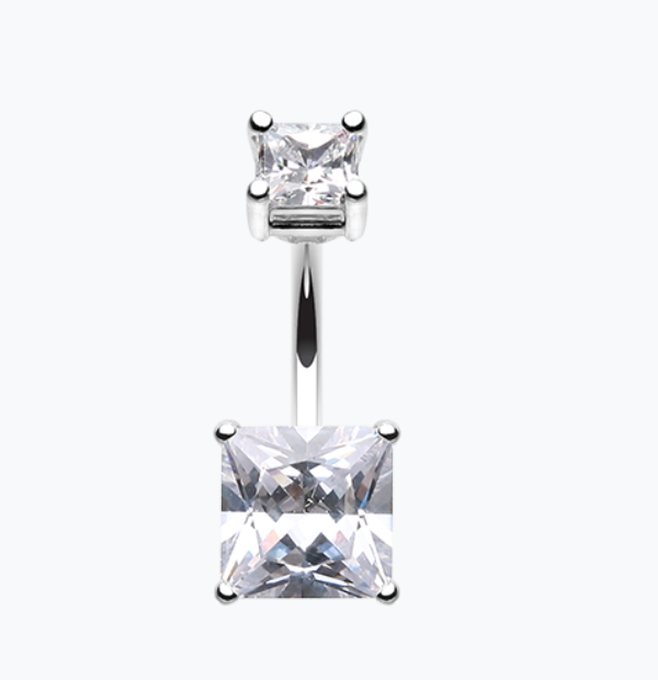 Classic Square Gem Cubic Zirconia Belly Ring