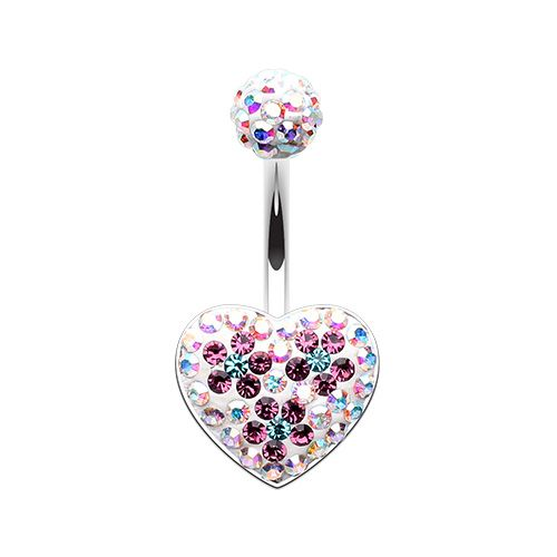 Blossom Aurora Heart Multi-Sprinkle Belly Button Ring