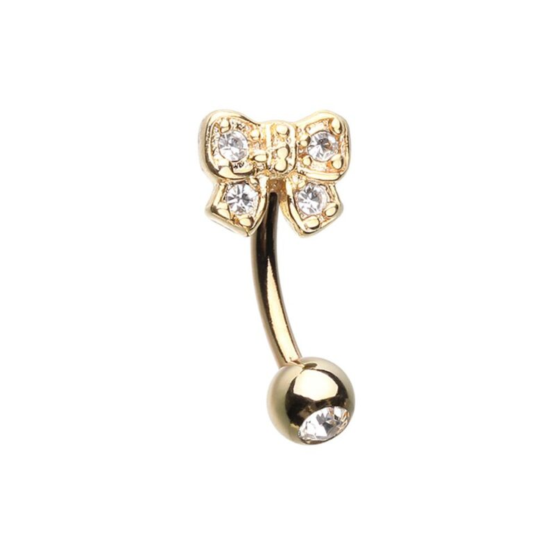 Golden Dainty Bow-Tie Curved Barbell Eyebrow Ring
