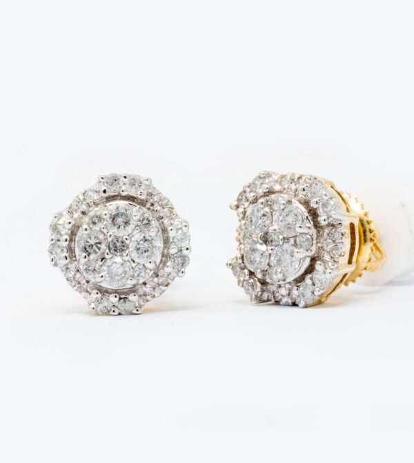 10K Yellow Gold Diamond circle Stud Earrings 0.50ct diamonds.