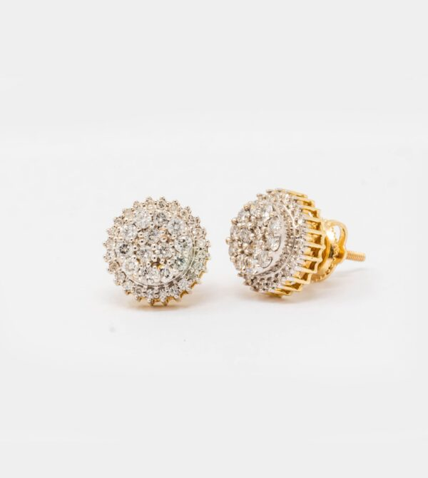 10k yellow Gold circle Stud Earrings 062.ct diamonds