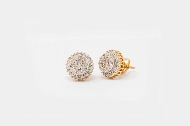 10k yellow Gold circle Stud Earrings 062.ct diamonds